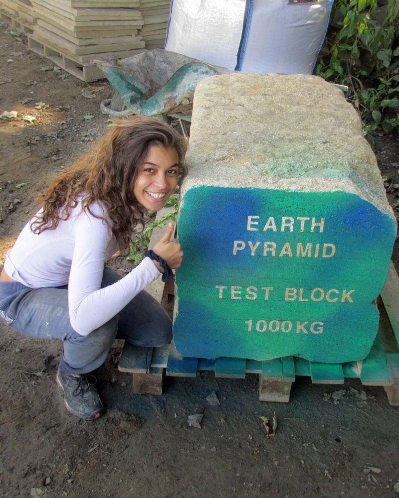 Getting involved - Tia with the Earth Pyramid Test Block