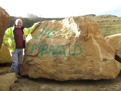 First block for the casing stone for the Earth Pyramid at the quarry