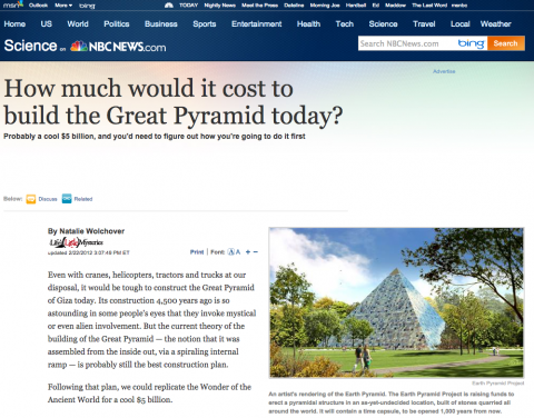 Screen shot of the Earth Pyramid article in NBC News
